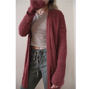 Express Burgundy Woven Knit Cardigan